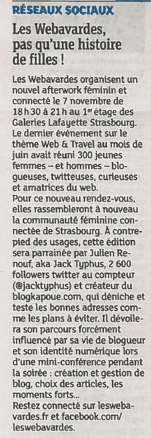 article DNA les Webavardes Strasbourg soirée male du 07 novembre 2013